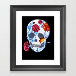 Flora Sugar Skull Framed Art Print