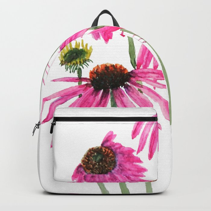 pink coneflowers watercolor Backpack