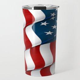 WAVY AMERICAN FLAG JULY 4TH ART Travel Mug