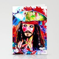 jack sparrow Stationery Cards featuring Captain Jack Sparrow by isabelsalvadorvisualarts
