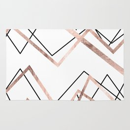 Rose Gold White Linear Triangle Abstract Pattern Rug
