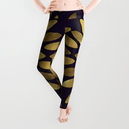Classic Golden Flower Leaves Pattern Leggings
