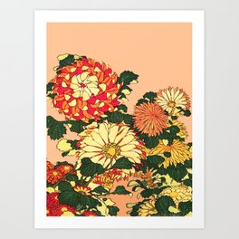 Japanese Flower Border, Mandarin Orange and Gold Art Print