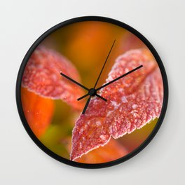 Frosty Red Leaves In The Morning Of October #decor #buyart #society6 Wall Clock