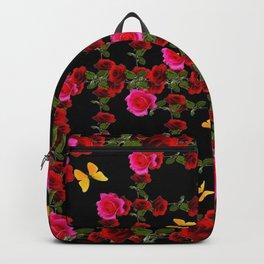 BLACK PINK ROSE & YELLOW BUTTERFLIES GARDEN ART Backpack