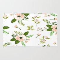 flower pattern Area & Throw Rugs featuring Flower Pattern by Jenna Davis Designs