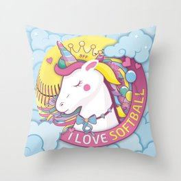 Softball Gift for Girls and Daughters who Love Pink Unicorns Throw Pillow