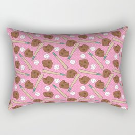 Girl baseball pattern on a pink background Rectangular Pillow