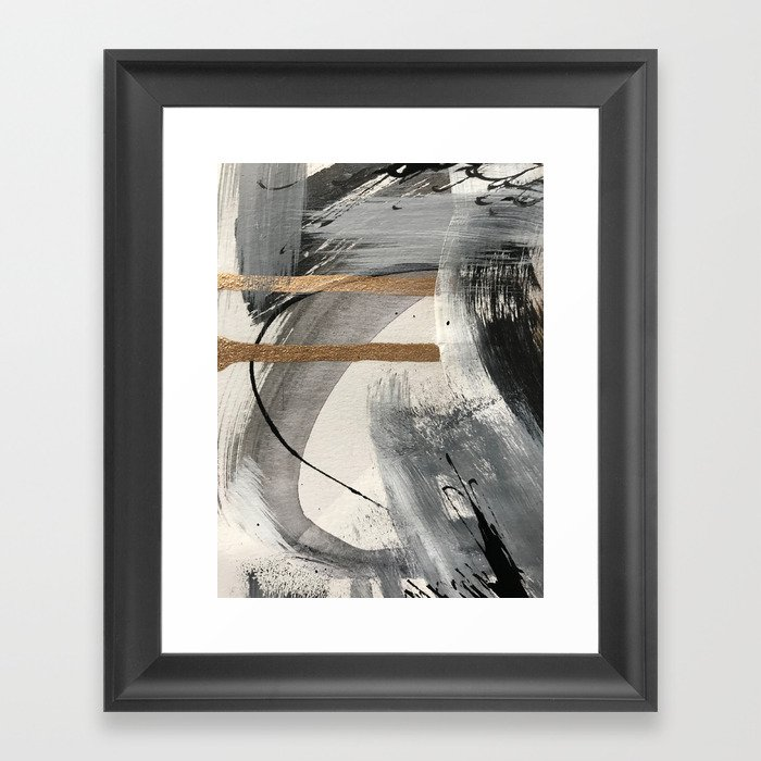 Armor [7]: a bold minimal abstract mixed media piece in gold, black and white Gerahmter Kunstdruck