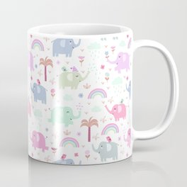 Cute pink elephant rainbow floral animal pattern Coffee Mug