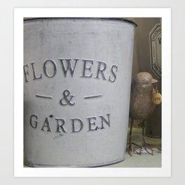 One Birdy Loves His garden Art Print