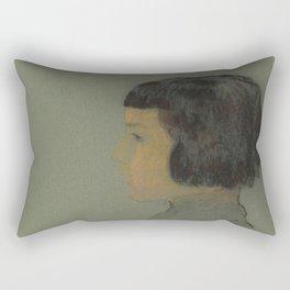 Odilon Redon - Young Woman in Profile Rectangular Pillow