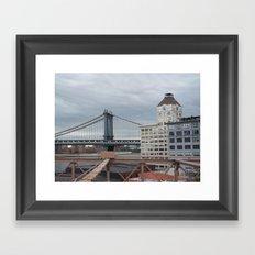 Brooklyn Bridge, New York City,  View of Hudson River, Skyline, Architecture,  Framed Art Print