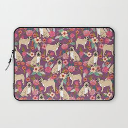 Pug dog breed floral must have cute pugs pure breed pet gifts Laptop Sleeve