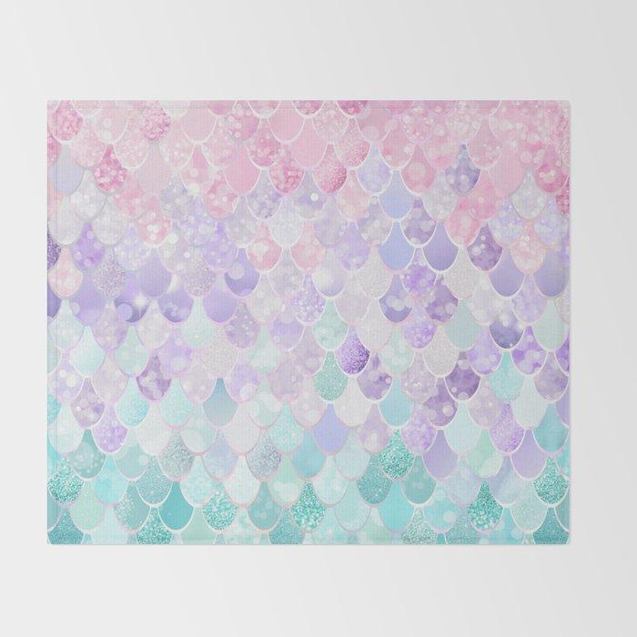 Cute Mermaid Pattern, Light Pink, Purple, Teal Throw Blanket