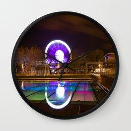 Budapest Eye Ferrish Wheel, Colorful Night Photography, Urban Cityscape Print Wall Clock