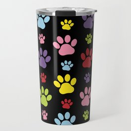 Colorful Paws, Puppy Traces, Trails, Animal Paws Travel Mug