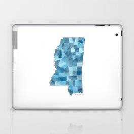 Mississippi Counties Blueprint watercolor map Laptop & iPad Skin