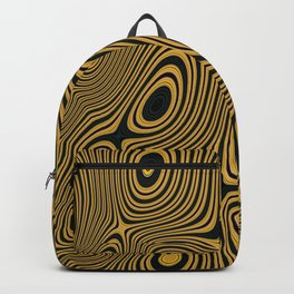BUZZ - concentric circles of black and yellow abstract design Backpack