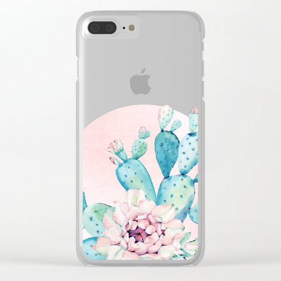 Desert Cactus Flower with Rose Gold Sun Clear iPhone Case
