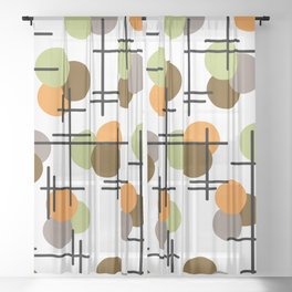 Atomic Age Molecules 2 Chartreuse Brown Orange Sheer Curtain