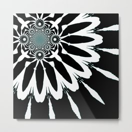 The Modern Flower Black White Blue Metal Print