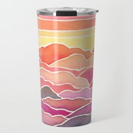 Above the Clouds Watercolor Painting Travel Mug