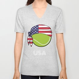 USA Mens Tennis Top for American Players, Fans or Coach Unisex V-Neck