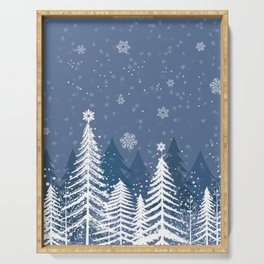 Winter Snow Forest Serving Tray