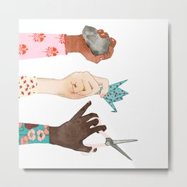 Peace Art, Women Art, Girls Rule Watercolor, Folk Pattern Metal Print