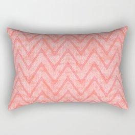Peach Pink Imitation Velvet Zigzag Pattern Rectangular Pillow
