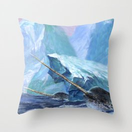 Narwhals at Play Throw Pillow