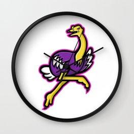 Ostrich Running Mascot Wall Clock