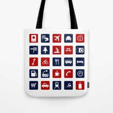 Travel Icons in RWB Tote Bag