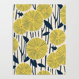 vintage, retro yellow, red and navy flower pattern Poster