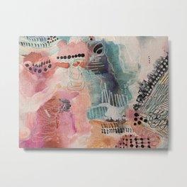 Original mixed media - abstract painting - art prints - modern art - soft and powerful series: 1 Metal Print