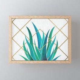 Modern Succulent - metallic accents Framed Mini Art Print