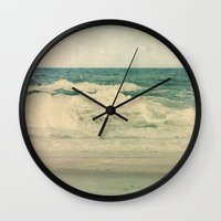 salt water Wall Clocks featuring Salt Water Cures by V. Sanderson / Chickens in the Trees