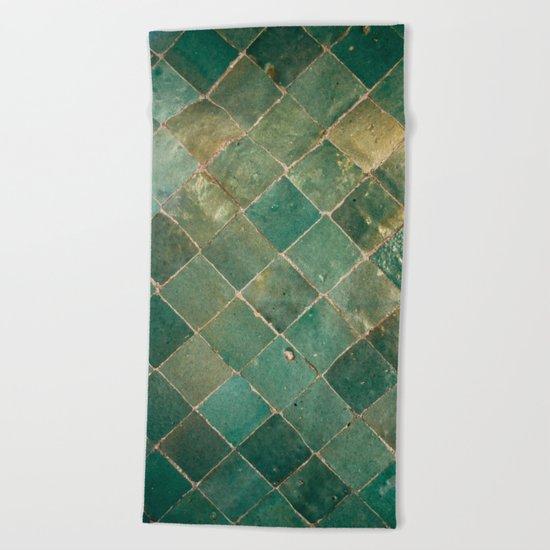 Green Moroccan Pattern Tile Beach Towel