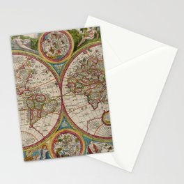 Vintage Map of The World (1662) Stationery Cards