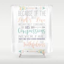 Handwritten Pastels Lamentations 3:22-23 Bible Verse Shower Curtain