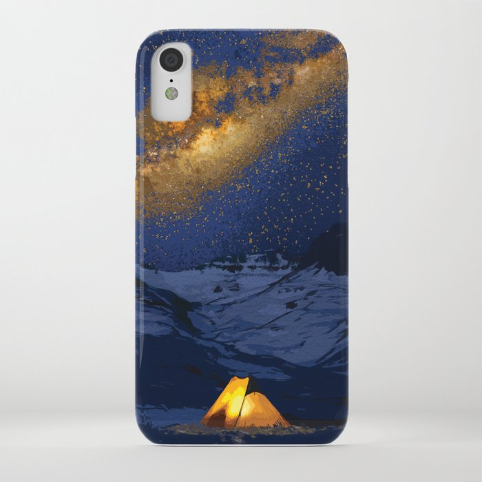 Glowing Tent Under Milky Way iPhone Case