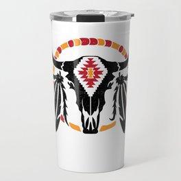 Aztec Pattern Cow Skull Cowboy Indian Mexican Travel Mug