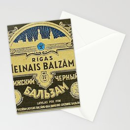 Vintage 1950 Rigas Melnais Balzams Wine Bottle Blue Label Print Stationery Cards