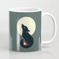 red hood Mugs featuring Little Red Riding Hood by Freeminds