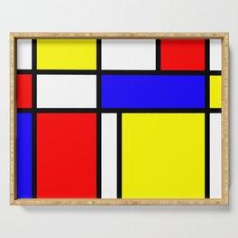 Mondrian 4 #art #mondrian #artprint Serving Tray