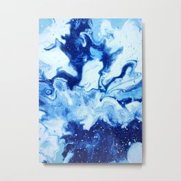 Blue Liquid Abstract Painting Metal Print
