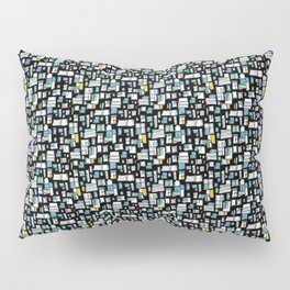 Black, Blue and White Abstract Brick Pattern Pillow Sham