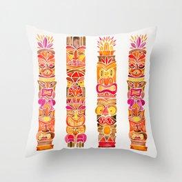 Tiki Totems – Fiery Palette Throw Pillow