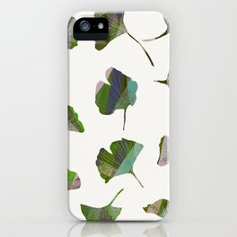 Modern Pretty Gingko Leaves in Green and Purple iPhone Case